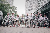 "Alberto Contador (ESP/Trek-Segafredo) & his Trek-Segafredo teammates preparing for a coffee/training-ride 1 day before the start of the 104th Tour de France 2017 <br /> ""Le Grand Départ"" in Düsseldorf/Germany"
