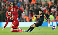 Atletico Madrid's Angel Correa is fouled by Liverpool's Jordan Henderson <br /> <br /> Photographer Rich Linley/CameraSport<br /> <br /> UEFA Champions League Round of 16 Second Leg - Liverpool v Atletico Madrid - Wednesday 11th March 2020 - Anfield - Liverpool<br />  <br /> World Copyright © 2020 CameraSport. All rights reserved. 43 Linden Ave. Countesthorpe. Leicester. England. LE8 5PG - Tel: +44 (0) 116 277 4147 - admin@camerasport.com - www.camerasport.com
