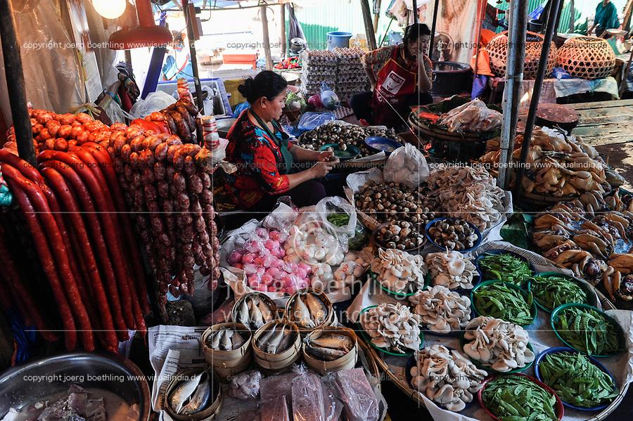 LAO P.D.R., Vientiane, food market  / LAOS, Vientiane, Markt Nahrungsmittel