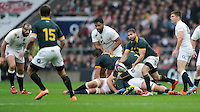 Cobus Reinach of South Africa passes during the QBE International match between England and South Africa at Twickenham Stadium on Saturday 15th November 2014 (Photo by Rob Munro)