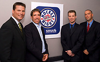 September 7, 2007 - CBC Sports and SIRIUS Satellite Radio announced the launch of CBC's Hockey Night in Canada Radio, a new daily national drive-time radio program on SIRIUS channel 122 starting October 1. Pictured from left are: Craig Simpson, CBC's Hockey Night in Canada analyst; Mark Redmond, President and CEO of SIRIUS Canada; Jeff Marek, HNIC Radio host; and Elliotte Friedman, host of HNIC Radio. (CNW Group/SIRIUS Canada Inc.)