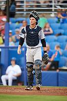Tampa Tarpons catcher Kellin Deglan (25) during a game against the Dunedin Blue Jays on June 2, 2018 at Dunedin Stadium in Dunedin, Florida.  Dunedin defeated Tampa 4-0.  (Mike Janes/Four Seam Images)
