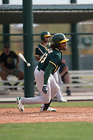 Oakland Athletics center fielder JaVon Shelby (13) starts down the first base line during a Minor League Spring Training game against the Chicago Cubs at Sloan Park on March 13, 2018 in Mesa, Arizona. (Zachary Lucy/Four Seam Images)