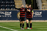 Chester, PA - Friday December 08, 2017: Sam Werner celebrates scoring The Stanford Cardinal defeated the Akron Zips 2-0 during an NCAA Men's College Cup semifinal match at Talen Energy Stadium.
