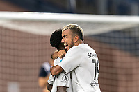 FOXBOROUGH, MA - SEPTEMBER 1: Shak Adams # 17 of FC Tucson celebrates his goal with teammate during a game between FC Tucson and New England Revolution II at Gillette Stadium on September 1, 2021 in Foxborough, Massachusetts.