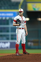Louisiana Ragin' Cajuns relief pitcher Brock Batty (4) looks to his catcher for the sign against the Mississippi State Bulldogs in game three of the 2018 Shriners Hospitals for Children College Classic at Minute Maid Park on March 2, 2018 in Houston, Texas.  The Bulldogs defeated the Ragin' Cajuns 3-1.   (Brian Westerholt/Four Seam Images)