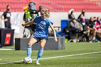 SANDY, UT - JULY 26: Kayla Sharples #28 of Chicago Red Stars kicks the ball during a game between Chicago Red Stars and Houston Dash during the NWSL Challenge Cup Championship held at Rio Tinto Stadium on July 26, 2020 in Sandy, Utah.