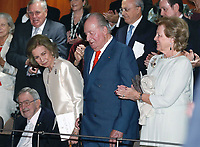 02-11-2018 Spain Queen Sofia, with King Juan Carlos and King Constantine II of Greece and Queen Anne-Marie, attend a concert celebrating her 80th birthday at the Reina Sofia School of Music in Madrid<br /> <br /> .<br /> .