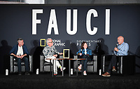 """PASADENA, CA - SEPT 9: (L-R) Aids activist Peter Staley, Directors John Hoffman and Janet Tobias, and moderator John Horn attend a drive-in screening of National Geographic Documentary Films """"Fauci"""" at the Rose Bowl on September 9, 2021 in Pasadena, California. (Photo by Frank Micelotta/National Geographic/PictureGroup)"""