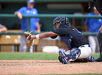 Westminster Christian Warriors catcher Jayden Melendez (14) during the 42nd Annual FACA All-Star Baseball Classic on June 6, 2021 at Joker Marchant Stadium in Lakeland, Florida.  (Mike Janes/Four Seam Images)