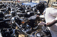 INDIA, Tamil Nadu, city Chennai former Madras, factory Royal Enfield , production of motorbike Enfield Bullet 500 , outside storage, ready for shipment
