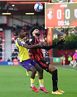 Aaron Rowe of Huddersfield Town and Philip Billing of AFC Bournemouth vie for the ball during AFC Bournemouth vs Huddersfield Town, Sky Bet EFL Championship Football at the Vitality Stadium on 12th December 2020