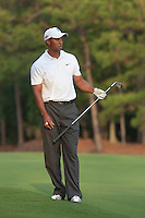PONTE VEDRA BEACH, FL - MAY 6: Tiger Woods hits his approach shot on the par 4 10th hole during his practice round on Wednesday, May 6, 2009 for the Players Championship, beginning on Thursday, at TPC Sawgrass in Ponte Vedra Beach, Florida.