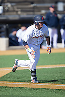 Danny Rafferty (4) of the Bucknell Bison hustles down the first base line against the Georgetown Hoyas at Wake Forest Baseball Park on February 14, 2015 in Winston-Salem, North Carolina.  The Hoyas defeated the Bison 8-5.  (Brian Westerholt/Four Seam Images)