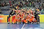 Leipzig, Germany, February 08: Team of The Netherlands presents the World Cup Trophy after defeating Austria 3-2 to win the FIH Indoor Hockey Men World Cup on February 8, 2015 at the Arena Leipzig in Leipzig, Germany. (Photo by Dirk Markgraf / www.265-images.com) *** Local caption ***