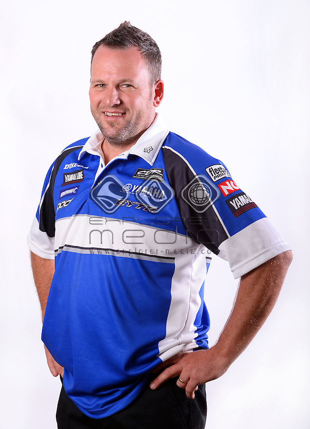 Portrait of mechanic Brad McAlpine<br /> MXN Round 1 - Broadford / Media <br /> 2014 Monster Energy MX Nationals<br /> Australian Motocross Championship<br /> Broadford Vic.  Saturday 29 March 2014<br /> © Sport the library / Jeff Crow