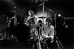 The Rolling Stones, a rehearsal at the Institute of Contemporary Arts (ICA) London. They were to perform later that evening at the Marque Club, 165 Oxford Street. Mick Jagger, Charlie Watts,  1970s UK