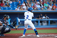 Edwin Arroyo (2) of the High Point Rockers at bat against the Southern Maryland Blue Crabs at Truist Point on June 18, 2021, in High Point, North Carolina. (Brian Westerholt/Four Seam Images)