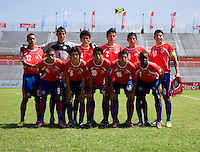 Costa Rica lines up before the quarterfinals of the CONCACAF Men's Under 17 Championship at Catherine Hall Stadium in Montego Bay, Jamaica. Panama defeated Costa Rica, 1-0.
