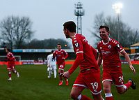 10th January 2021; Broadfield Stadium, Crawley, Sussex, England; English FA Cup Football, Crawley Town versus Leeds United; Jordan Tunnicliffe of Crawley celebrates after scoring his goal in the 70th minute for 3-0