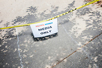 """A sign reads """"Media Only"""" near the Political Soapbox at the Iowa State Fair in Des Moines, Iowa, on Tues., Aug. 13, 2019."""