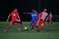 Jesse Olukolu of Romford and Luca Vega of Tilbury during Romford vs Tilbury, Pitching In Isthmian League North Division Football at Mayesbrook Park on 29th September 2021