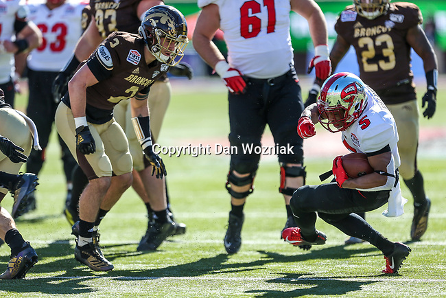 Western Kentucky Hilltoppers running back Gaej Walker (5) in action during the Servpro First Responder Bowl game between Western Michigan Broncos and the Western Kentucky Hilltoppers at the gerald Ford Stadiuml Stadium in Dallas, Texas.