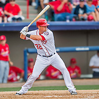 13 March 2016: Washington Nationals first baseman Tyler Moore in action during a pre-season Spring Training game against the St. Louis Cardinals at Space Coast Stadium in Viera, Florida. The teams played to a 4-4 draw in Grapefruit League play. Mandatory Credit: Ed Wolfstein Photo *** RAW (NEF) Image File Available ***