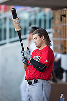 Jaff Decker (14) of the Indianapolis Indians prepares for his turn to bat during the game against the Charlotte Knights at BB&T BallPark on June 20, 2015 in Charlotte, North Carolina.  The Knights defeated the Indians 6-5 in 12 innings.  (Brian Westerholt/Four Seam Images)