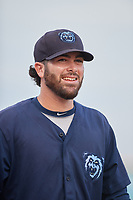 Mobile BayBears pitcher Adam Hofacket (16) after a Southern League game against the Mobile BayBears on July 25, 2019 at Blue Wahoos Stadium in Pensacola, Florida.  Pensacola defeated Mobile 2-1 in the first game of a doubleheader.  (Mike Janes/Four Seam Images)