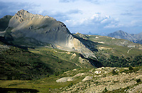Mountains in the Col du Granon pass, French Alps, France.