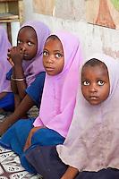 Jambiani, Zanzibar, Tanzania.  African Muslim Schoolgirls.