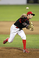 Batavia Muckdogs relief pitcher Corey Baker #8 during a game against the Tri-City ValleyCats at Dwyer Stadium on July 15, 2011 in Batavia, New York.  Batavia defeated Tri-City 4-3.  (Mike Janes/Four Seam Images)