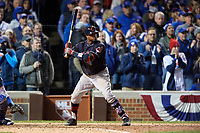 Cleveland Indians Rajai Davis (20) bats in the eighth inning during Game 5 of the Major League Baseball World Series against the Chicago Cubs on October 30, 2016 at Wrigley Field in Chicago, Illinois.  (Mike Janes/Four Seam Images)