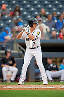 Akron RubberDucks Alex Call (7) at bat during an Eastern League game against the Reading Fightin Phils on June 4, 2019 at Canal Park in Akron, Ohio.  Akron defeated Reading 8-5.  (Mike Janes/Four Seam Images)