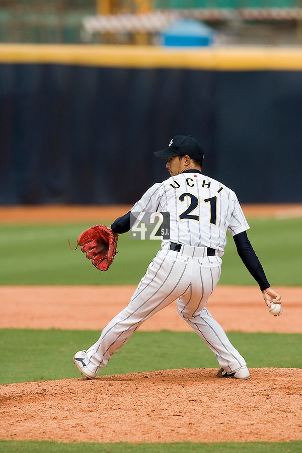 22 August 2007: #21 Tatsuya Uchi pitches against France during the Japan 9-4 victory over France in the Good Luck Beijing International baseball tournament (olympic test event) at west Beijng's Wukesong Baseball Field in Beijing, China.