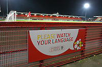 Please watch your language signage during Stevenage vs Southend United, Checkatrade Trophy Football at the Lamex Stadium on 8th November 2016