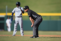 Field umpire Jansen Visconti during an Arizona Fall League game between the Peoria Javelinas and the Mesa Solar Sox at Sloan Park on November 6, 2018 in Mesa, Arizona. Mesa defeated Peoria 7-5 . (Zachary Lucy/Four Seam Images)