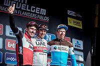 podium:<br /> <br /> 1st place Alexander Kristoff (NOR/UAE)<br /> 2nd place John Degenkolb (GER/Trek Segafredo)<br /> 3th place Oliver Naesen (BEL/AG2R La Mondiale)<br /> <br /> 82nd Gent – Wevelgem in Flanders Fields 2019 (1.UWT)<br /> Deinze – Wevelgem: 251,5km<br /> ©kramon