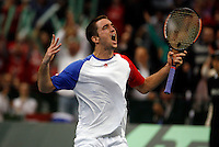 Serbian  Davis Cup player Viktor Troicki reacts during his match against Michael Llodra of France, Davis Cup finals, Serbia vs France in Belgrade Arena in Belgrade, Serbia, Sunday, 5. December 2010. (credit & photo: Pedja Milosavljevic/SIPA PRESS)