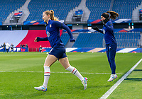 LE HAVRE, FRANCE - APRIL 13: Samantha Mewis #3 and Alex Morgan #13 of the USWNT warm up before a game between France and USWNT at Stade Oceane on April 13, 2021 in Le Havre, France.
