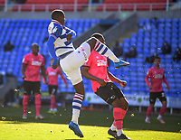 5th April 2021; Madejski Stadium, Reading, Berkshire, England; English Football League Championship Football, Reading versus Derby County;  Lucas Joao of Reading shoots and scores in 84th minute 3-1