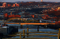 The sister bridges and Veterans Bridge are shown at sunset on Sunday March 29, 2020 in Pittsburgh, Pennsylvania. (Photo by Jared Wickerham/Pittsburgh City Paper)