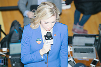 Media await the arrival of Democratic presidential candidate and former South Bend, Ind., mayor Pete Buttigieg at his Primary Night rally at Nashua Community College in Nashua, New Hampshire, on Tue., Feb. 11, 2020. Democratic presidential candidate and Vermont senator Bernie Sanders was projected to win the New Hampshire Democratic Primary, but Buttigieg came in a close second.
