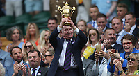 Former Australian tennis player Rod Laver is handed a replica of the Men's singles trophy from The Royal Box on centre court<br /> <br /> Photographer Rob Newell/CameraSport<br /> <br /> Wimbledon Lawn Tennis Championships - Day 6 - Saturday 6th July 2019 -  All England Lawn Tennis and Croquet Club - Wimbledon - London - England<br /> <br /> World Copyright © 2019 CameraSport. All rights reserved. 43 Linden Ave. Countesthorpe. Leicester. England. LE8 5PG - Tel: +44 (0) 116 277 4147 - admin@camerasport.com - www.camerasport.com