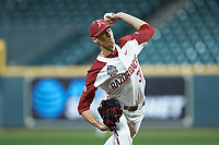 Arkansas Razorbacks relief pitcher Caden Monke (37) in action against the Baylor Bears in game nine of the 2020 Shriners Hospitals for Children College Classic at Minute Maid Park on March 1, 2020 in Houston, Texas. The Bears defeated the Razorbacks 3-2. (Brian Westerholt/Four Seam Images)