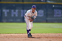 High Point Panthers shortstop Conner Dunbar (24) on defense against the NJIT Highlanders at Williard Stadium on February 19, 2017 in High Point, North Carolina. The Panthers defeated the Highlanders 6-5. (Brian Westerholt/Four Seam Images)