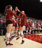STANFORD, CA - NOVEMBER 17: Stanford, CA - November 17, 2019: Holly Campbell, Caitie Baird at Maples Pavilion. #4 Stanford Cardinal defeated UCLA in straight sets in a match honoring neurodiversity. during a game between UCLA and Stanford Volleyball W at Maples Pavilion on November 17, 2019 in Stanford, California.