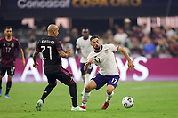 LAS VEGAS, NV - AUGUST 1: Sebastian Lletget #17 of the United States is marked by Luis Rodriguez during a game between Mexico and USMNT at Allegiant Stadium on August 1, 2021 in Las Vegas, Nevada.