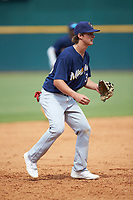 Third baseman Jackson Jobe (39) of Heritage Hall in Oklahoma City, OK playing for the Milwaukee Brewers scout team during the East Coast Pro Showcase at the Hoover Met Complex on August 2, 2020 in Hoover, AL. (Brian Westerholt/Four Seam Images)